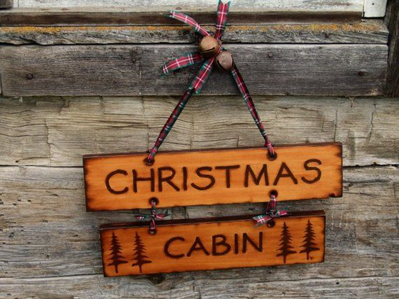 Christmas Cabin Decoration Sign Decor Wood Burned Rustic Wooden Lodge Chalet