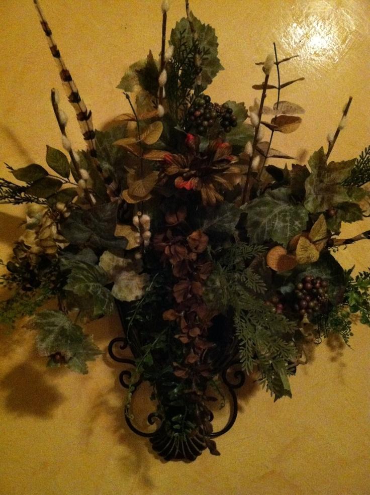 Wall arrangement | Decorative wall sconces, Wreath ... on Decorative Wall Sconces For Flowers Arrangements id=60587