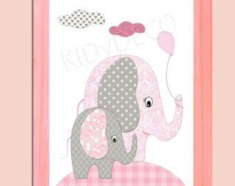 Decoración de la habitación chica, elefantes bebé, rosado y gris. Viveros, hija de diseño conjunto, impresión del arte, rosa, gris, elefante, patrón, raya