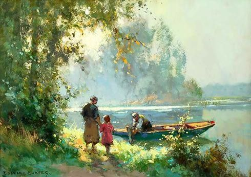 Edouard Leon Cortes「SPRING MORNING BY THE RIVER」