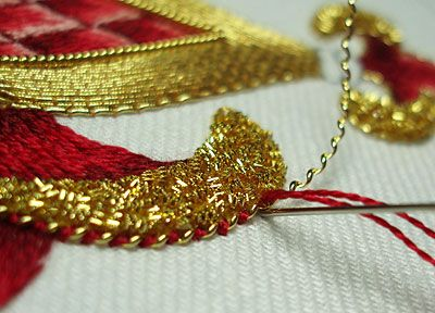 Mary Corbet's www.needlenthread.com Goldwork Embroidery: Pearl Purl (my note: couched gold work, interesting)