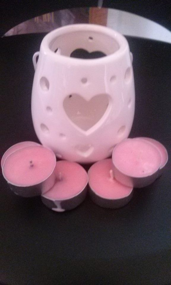 white candle holder + 6 tea light candles $12