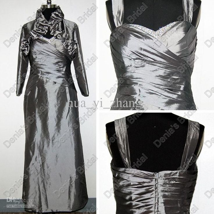 Wholesale Metal Grey bridesmaid Dresses With Ruffles Collar Wrap Actual Real Images DB100, Free shipping, $123.2-134.4/Piece | DHgate