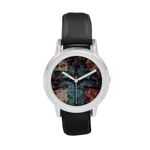 Vintage Cross Christian Damask Collage Wristwatches