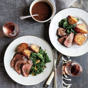 Bistro Steak and Roasted Potatoes | MyRecipes  This restaurant-worthy meal feels date-night special. Make sure to let the meat rest before slicing so the juices can redistribute.
