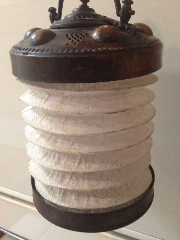 Antique Turkish Ottoman Brass Or Copper LANTERN Lamp Stamped White Cloth
