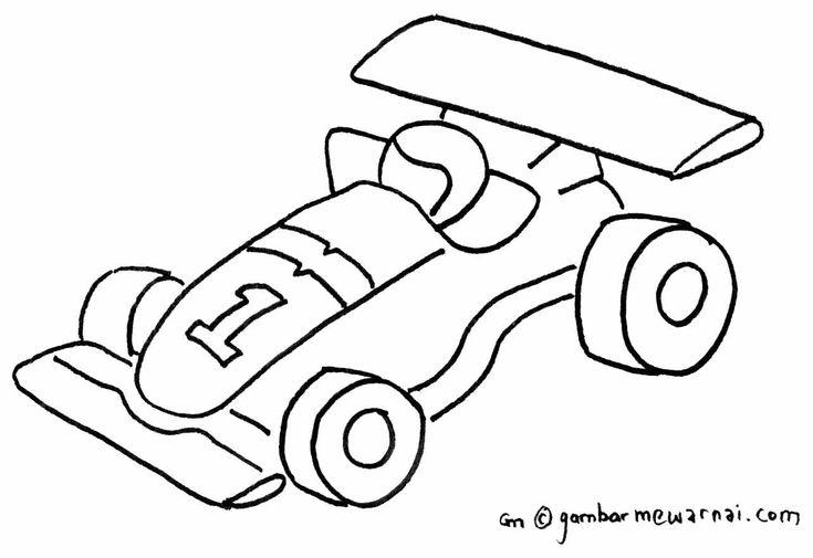 Contoh Gambar Mewarnai Mobil Balap