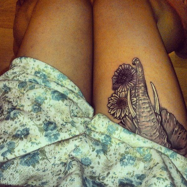 Elephant tattoo, love the placement