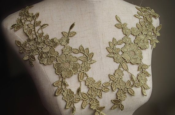 gold lace applique by pairs metallic gold venise lace by LaceFun
