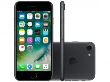 """iPhone 7 Apple 32GB Preto Matte 4G 4,7"""" Retina - Câm. 12MP + Selfie 7MP iOS 10 Proc. Chip A10"""