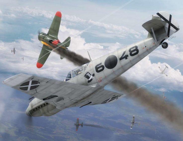 Messerschmitt Bf 109D shoots down a Polikarpov I-16 'Mosca', Spanish Civil War (digital art by Adam Tooby)