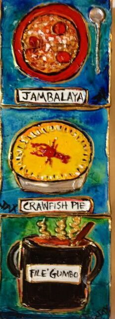 Jambalaya, Crawfish Pie, File' gumbo Original Mini New Orleans and Louisiana art 4 x 4 acrylic and mixed media on canvas  - 3 minis shown here