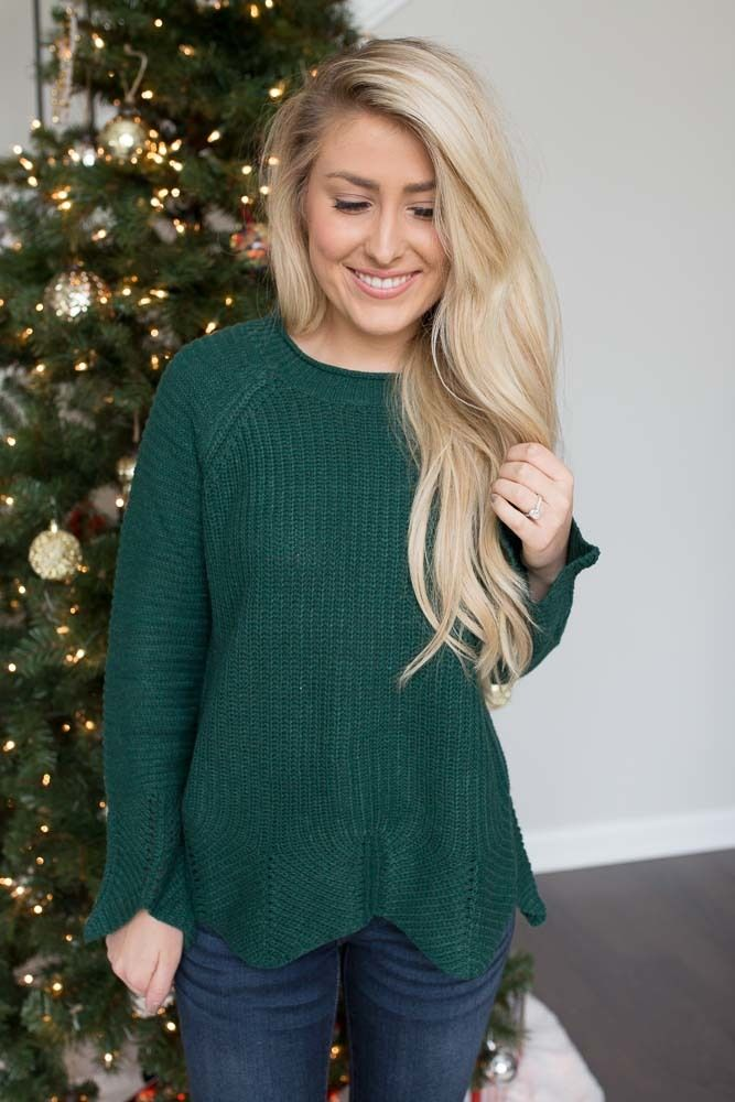 Shop our Scalloped Hem Sweater in Evergreen. Pair with skinny jeans and booties for a casual and festive look. Always free shipping on all US orders.