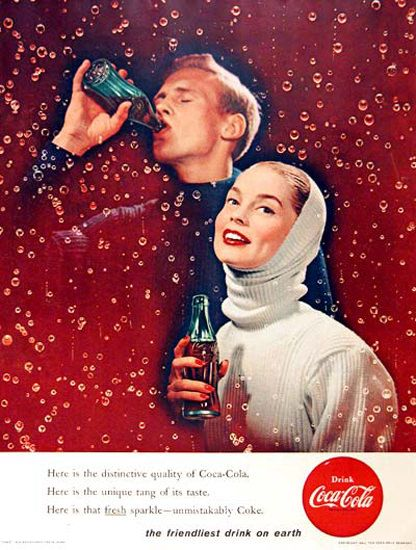 Coca-Cola 1956 Sparkling Couple Unmistakably - www.MadMenArt.com | Coca-Cola is…