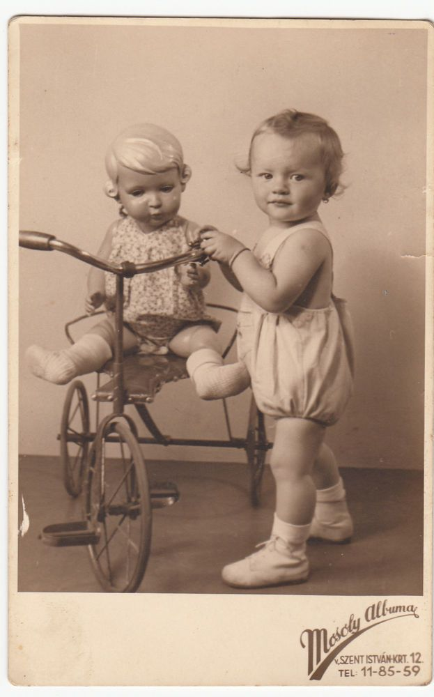 Orig. Vintage photo RPPC 1941 antique toys - tricycle, baby with Inge doll