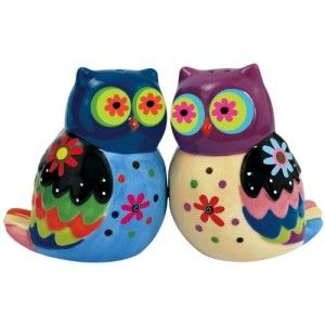 Cozy Owls Magnetic Ceramic Salt and Pepper Shaker Set. These two colorful owls are kept together with magnets. They are not just nocturnal but enjoy the daylight too, therefore you can put them on display on your table anytime of the day. http://theceramicchefknives.com/owl-salt-and-pepper-shakers/  baby shower favors, Big Sky Carvers Owl salt and pepper shakers