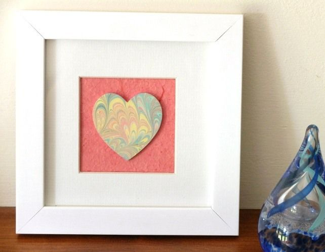 Marbled paper heart framed picture anniversary wedding new house gift £12.50