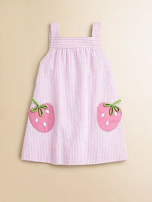 Florence Eiseman Toddler's Little Girl's Seersucker Strawberry Dress