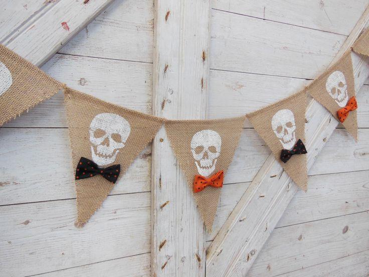 Halloween Burlap Banner, Fall Banner, Skull Banner, Happy Halloween Garland, Burlap Banner Bunting, Halloween Decor, Spooky Bunting by IchabodsImagination on Etsy https://www.etsy.com/listing/202200197/halloween-burlap-banner-fall-banner