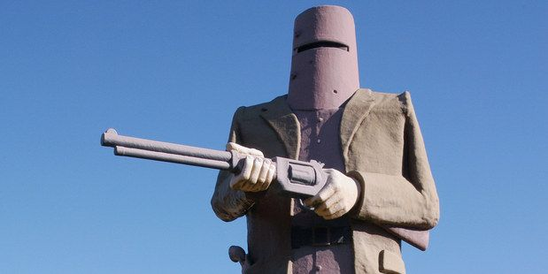 The Ned Kelly statue at Glenrowan in northeast Victoria.