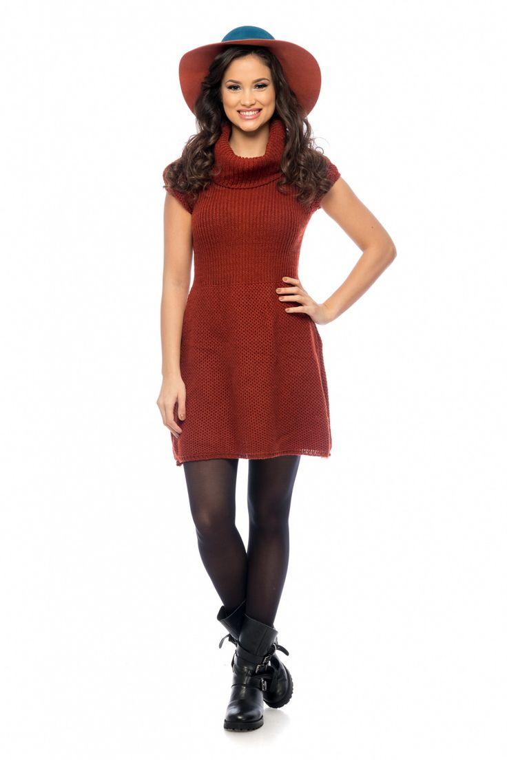 Rochie Brenda Caramizie 129 lei Rochie casual din tricotaj