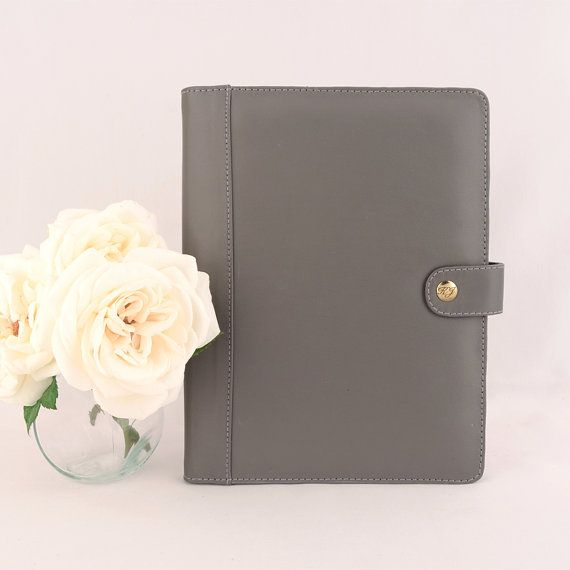 New A5 Leather Padfolio Portfolio Multiple Pockets Snap Closure Personalized Cocoa Paper