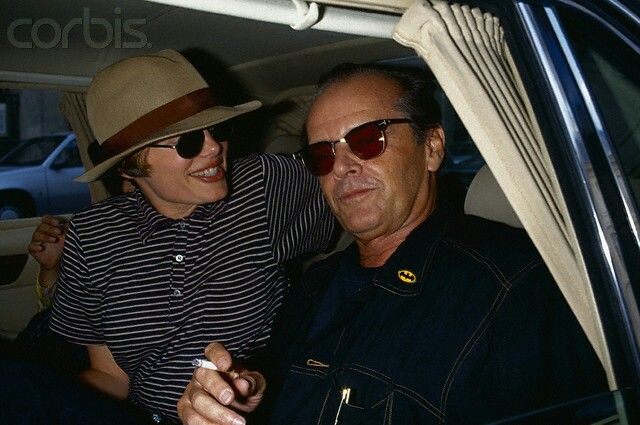 Jack Nicholson and Rebecca Broussard. With his Batman pin <33