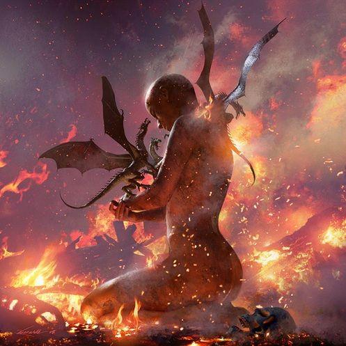 """""""Daenerys the Unburnt"""", por Michael Kormack. O evento do nascimento dos dragões foi um """"milagre"""", segundo George R. R. Martin."""