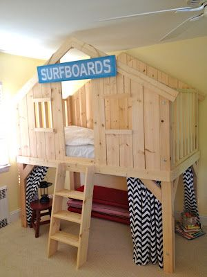 DIY clubhouse bed, inspired by Pottery Barn. This could also work as an inside playhouse for the play room.