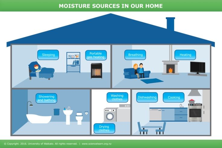 Moisture sources in the home - INTERACTIVE. Common household activities like cooking, cleaning and bathing produce moisture in our homes. Cold, damp houses can have serious effects on our health. Find out what causes moisture and how to minimise and remove it.