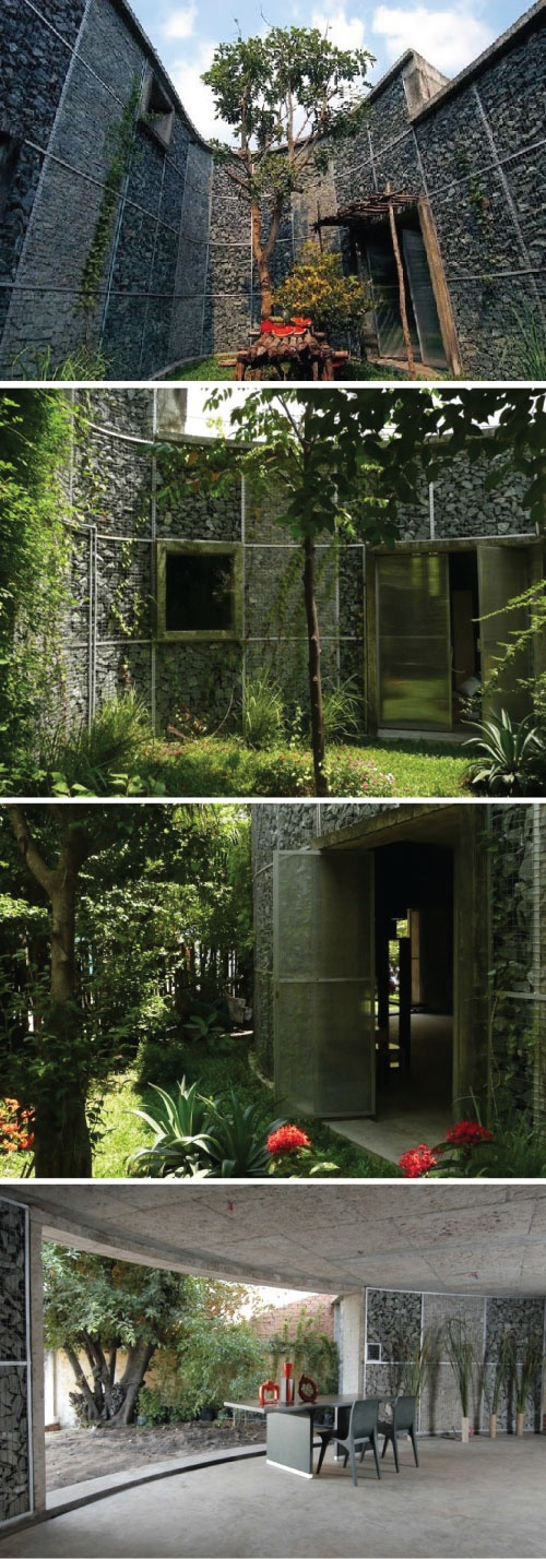 Amazing gabion rock house