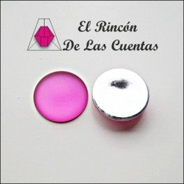 Cabuchón redondo Luna Soft Touch color fucsia de 24mm