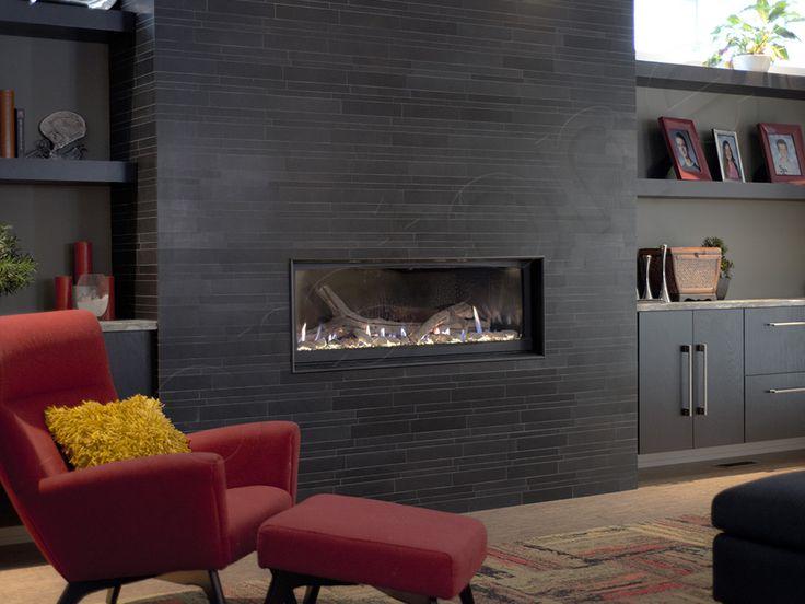 Stunning Norstone Ebony Basalt IL tiles Fireplace