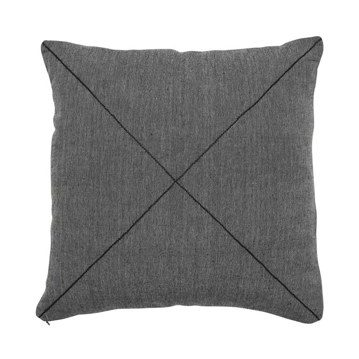 Charcoal Khadi Square Cushion