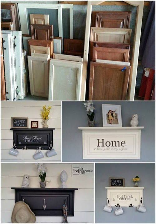 what adorable ideas for upcycling old cabinet doors! easy diy home decor!
