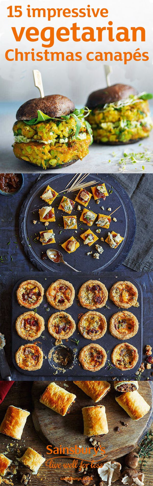 These 15 impressive Christmas canapés and party food recipes celebrate the very best of vegetarian cooking. From polenta bites to beetroot fritters and dips, there's no need to leave the veggies fighting over the last cheese straw this Christmas. No Christmas party is complete without Halloumi chips and we've even go a recipe for vegetarian mushroom sausage rolls. Delicious