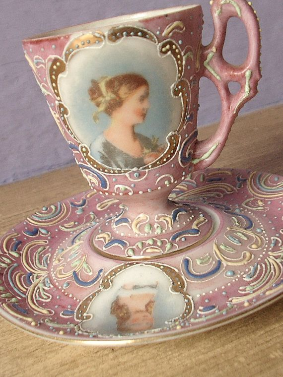 Antique pink tea cup and saucer set, vintage Ardalt Japanese tea cup, lustreware hand painted moriage tea set, victorian portrait cup: