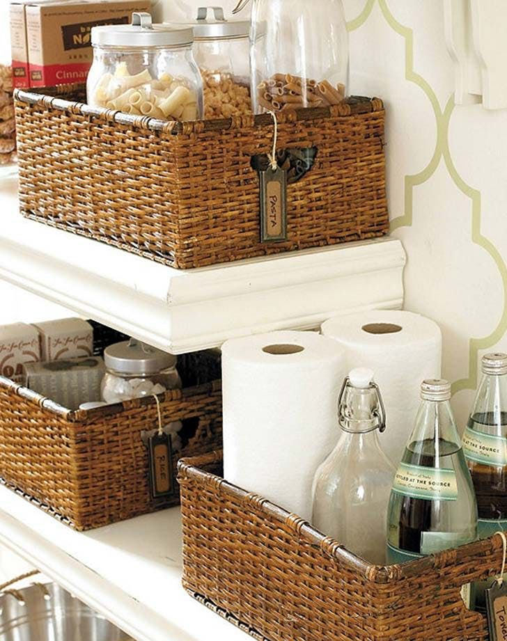 kitchen storage baskets For prettying up your pantry—or filling the clearance above your cabinets.     Ballard Designs ($69 for three)