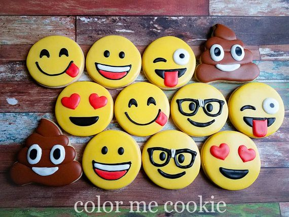 This listing is for one dozen (12) emoji sugar cookies. Baked in my licensed kitchen, you will receive 2 each of the 6 designs shown in photo. They will all come individually wrapped in clear cellophane bags. They make the perfect addition to any dessert table, gift for your