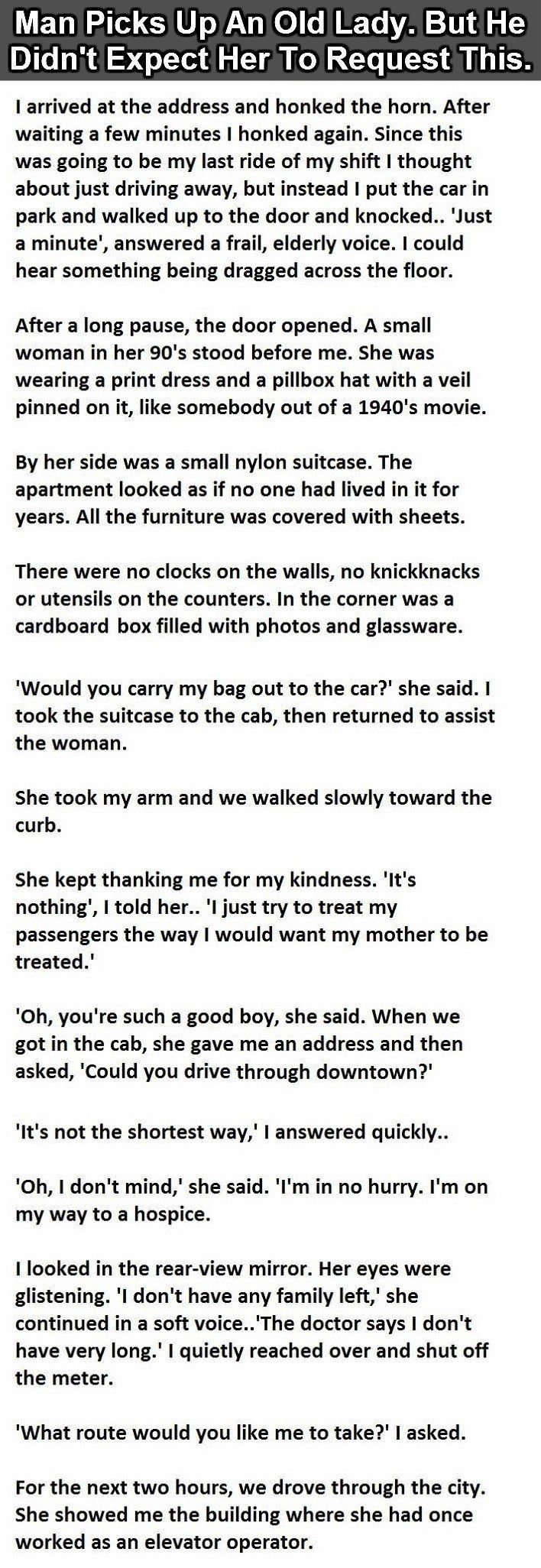 This Cab Driver Picks Up An Older Lady And She Makes One Last Special Request