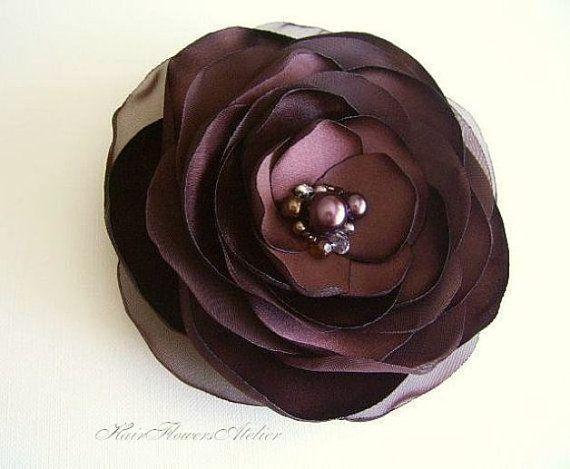 Brown Hair Clip Deep Brown Hair Flower by HairFlowersAtelier, $19.00