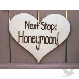 Next Stop: The Honeymoon Rustic Wood Heart Sign (Photo Booth, Prop Reception, Car Decoration) perfect for outdoor #weddings and garden #parties #koyal