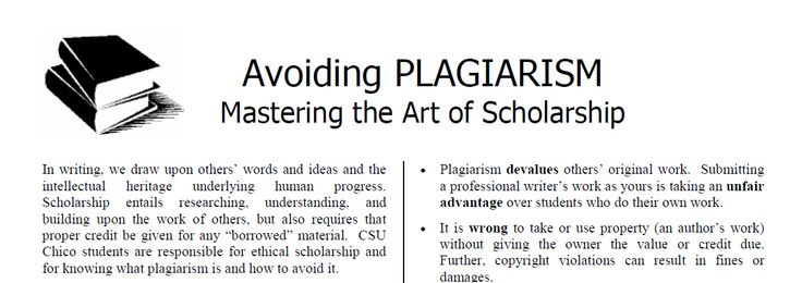 Quick and dirty two page overview about the ups and downs and ins and outs of plagiarism. http://www.csuchico.edu/sjd/_assets/docs/integrity/Avoiding%20Plagiarism.pdf