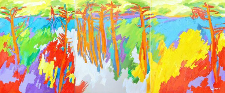 海湾中的色彩 油画 CHelsea Bay Auckland 360x145cm H