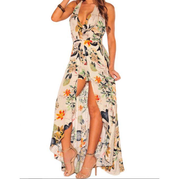 Combinaison short effet robe longue motif à fleurs - bestyle29.com