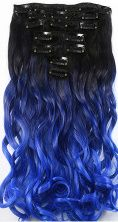 Synthetische clip in extension set / ombre zwart - blauw golvend / 50 cm