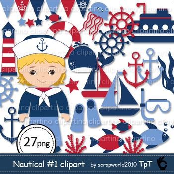 Nautical Clipart includes 27 graphic images for personal and small commercial use* png (transparent background)-fish-anchor-lighthouse-whale-jellyfish-banner-Submarine-sheep-sheep wheel-sailor boy