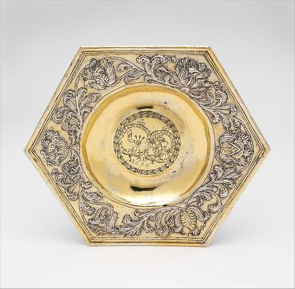 """Hexagonal dish, 1696. Hungarian, Transylvania. The Metropolitan Museum of Art, New York. Gift of The Salgo Trust for Education, New York, in memory of Nicolas M. Salgo, 2010 (2010.110.42)   This work is featured in our """"Hungarian Treasure: Silver from the Nicolas M. Salgo Collection"""" exhibition on view through October 25, 2015. #HungarianTreasure"""