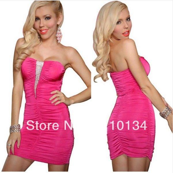 nieuwe mode vrouwen sexy strapless ruches lovertjes clubwear jurkje feestavond mini jurk off the shoulder pencil jurk 0319 $10,85 (free shipping)