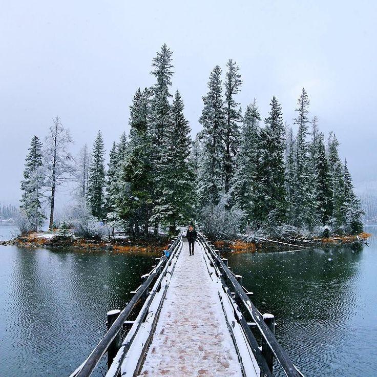 A bridge to a winter wonderland. Photo of Spirit Island on Maligne Lake in…